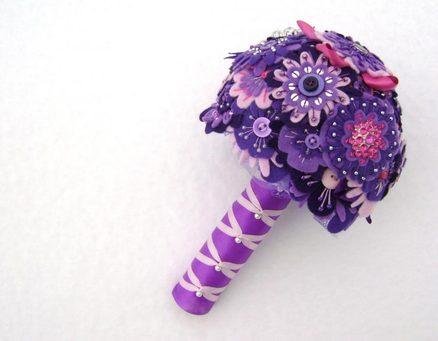 Nozze - Pink and Purple Bridal Bouquet -  Elaborate Beading and Sequins - Free Boutonniere
