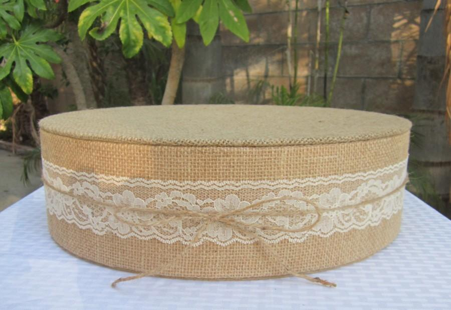 15 22 Burlap And Lace Round Wedding Cake Stand With White Ivory Or Back Tied A Natural Jute Bow 4 Tall Syrofoam