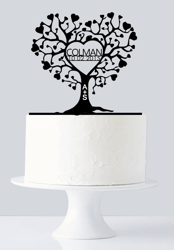 Hochzeit - Unique Wedding Cake Topper, Gold Love Tree Cake Topper with Custom Last name & Date, Name Initials A774