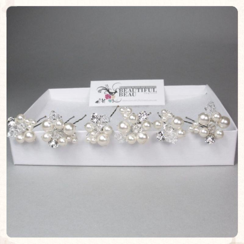 Mariage - Bridal Hair Pins, Pearl Hair Pins, Wedding Hair Accessories, Bridesmaid Hair Accessory, Crystal Pearl Diamante Hair Grips EDEN SET Of FIVE