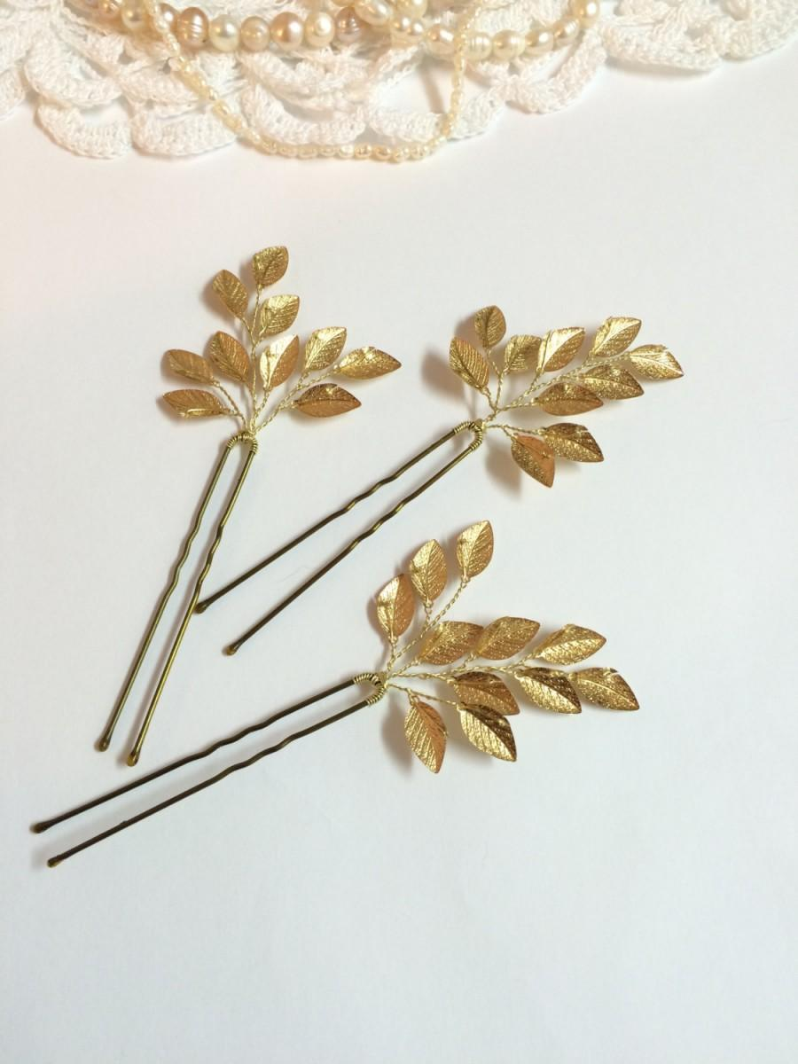 Свадьба - Set of 3 bridal hair pins, floral hair pins, wedding hair pins, bridal hair accessories, gold hair pins, hair pieces for wedding, hair pins