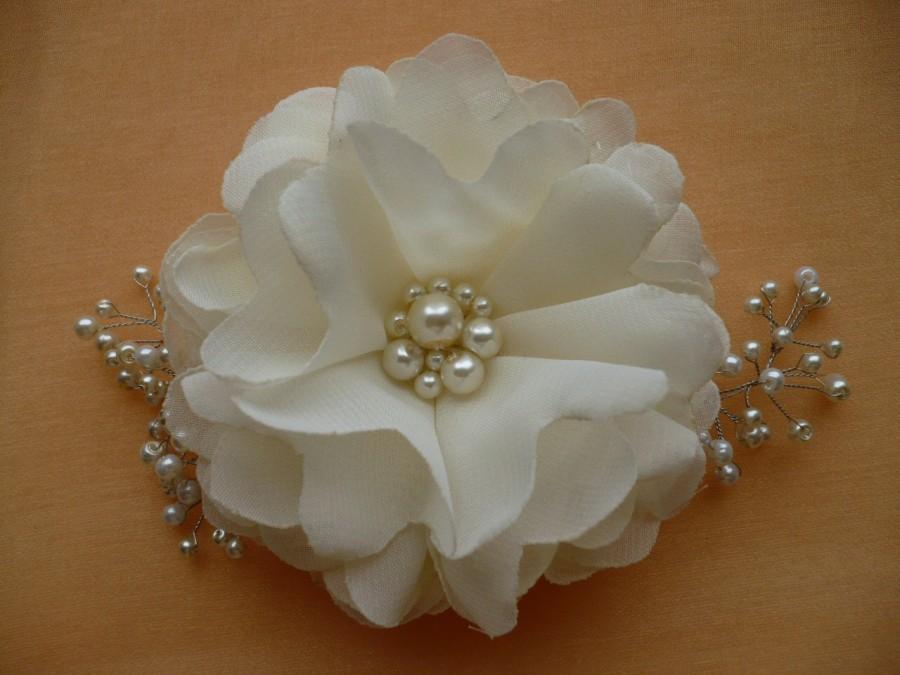 Bridal Ivory Flower Hair Accessories : Ivory hair clip comb flower bridal