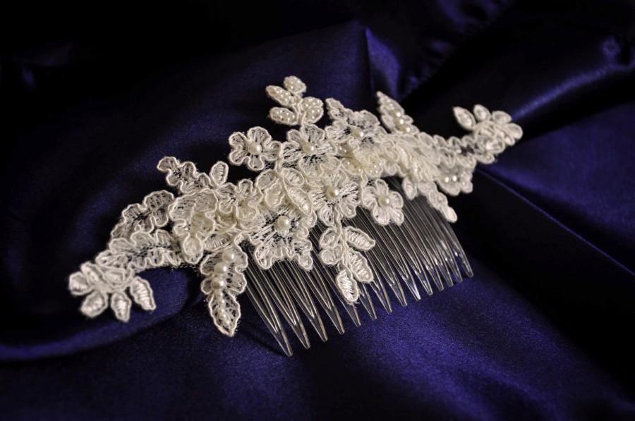 زفاف - Wedding comb ivory wedding comb wedding hair comb ivory lace comb lace comb pearl hair comb bridal lace comb wedding hair accessories