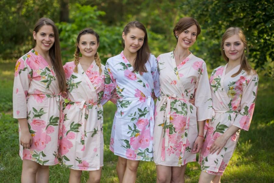 Hochzeit - Blush Pink Large Floral Blossom Bridesmaids Robes
