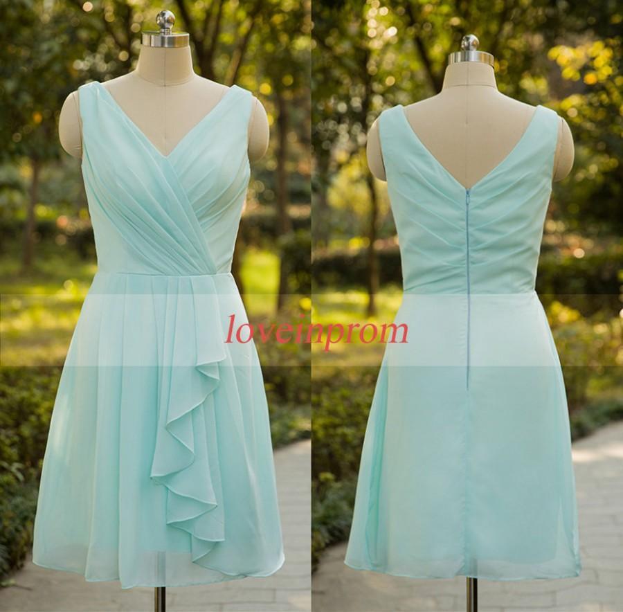 Hochzeit - Mint green bridesmaid dress,100% handmade chiffon prom dress,wedding party dress,bridesmaid gown