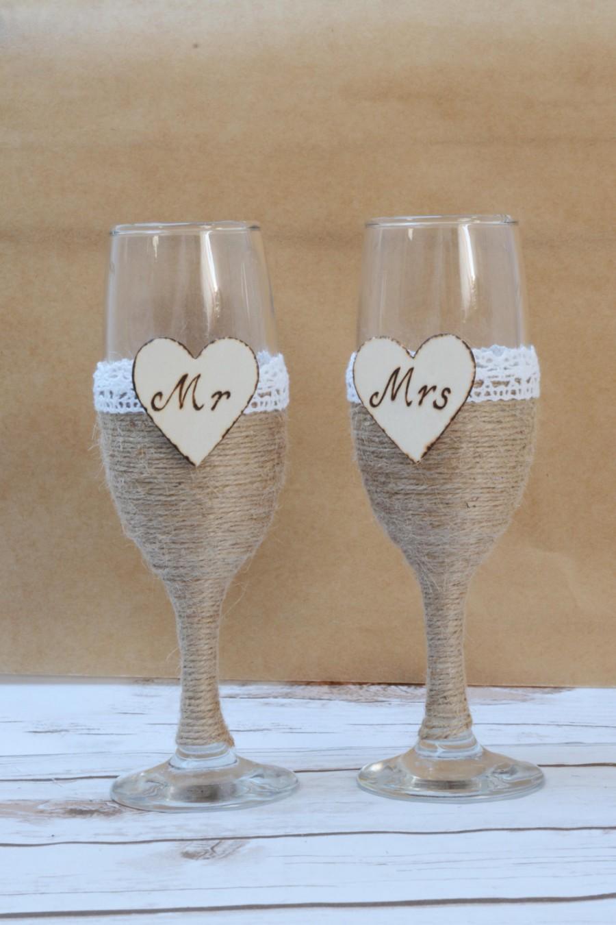 Mariage - Champagne Flutes Burlap Toasting Glasses Rustic Wedding Glasses Shabby CHic Wedding