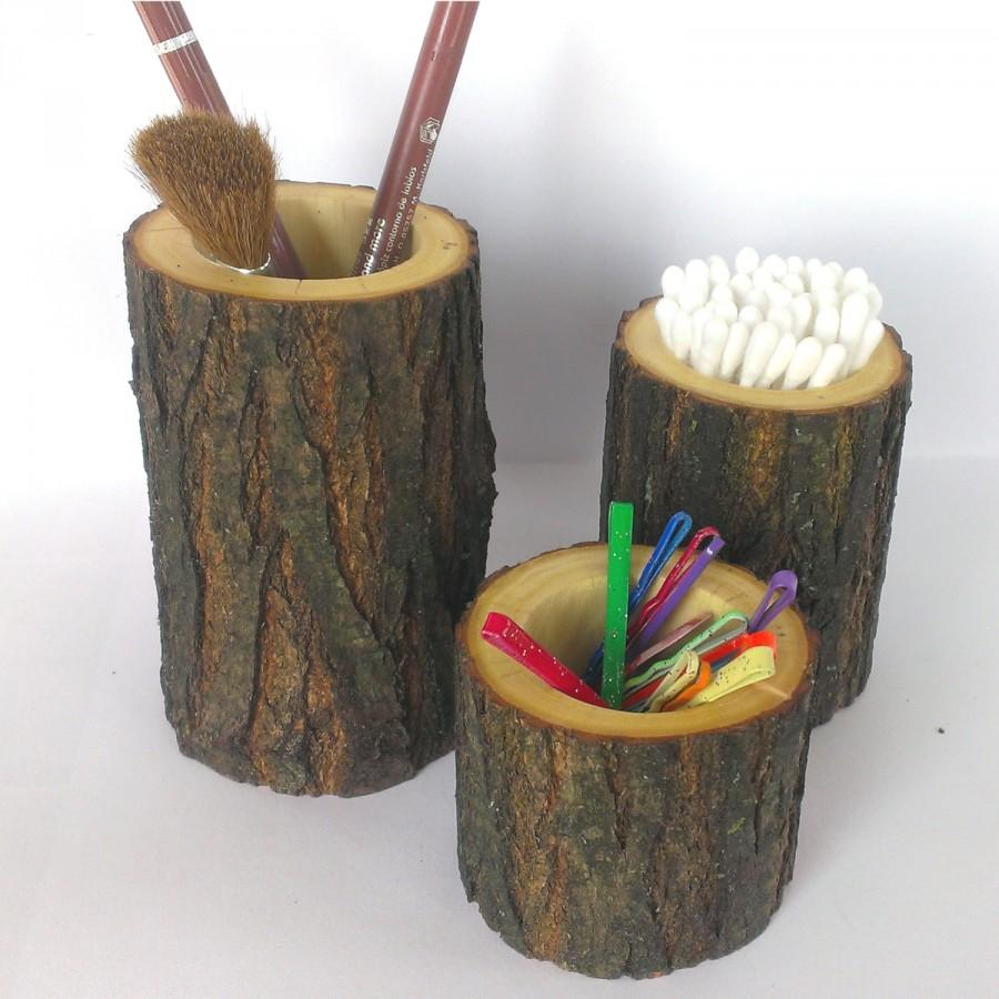 Rustic bathroom decor - Rustic Bathroom Decor Rustic Bathroom Accessories Set Of 3 Holder Toothbrush Holder Knick Knack Holder Bathroom Decor Gift Wood Decor