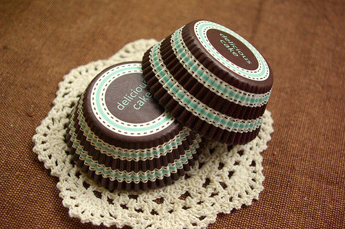 Mariage - Brown and Baby Blue Cupcake Liners (50)