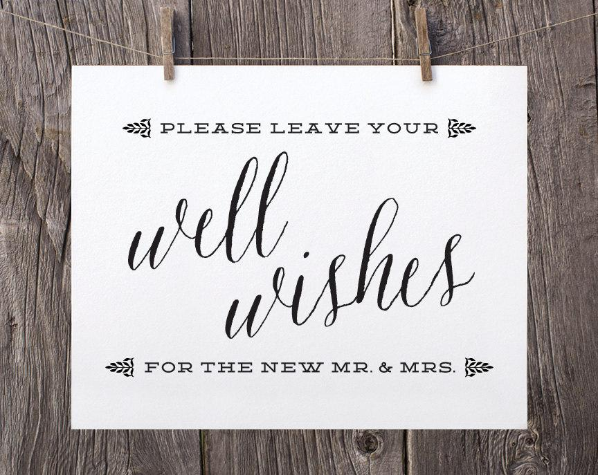 5x7 Printable Wedding Signs Guest Book Sign Well Wishes Black And White Reception For The Mr Mrs