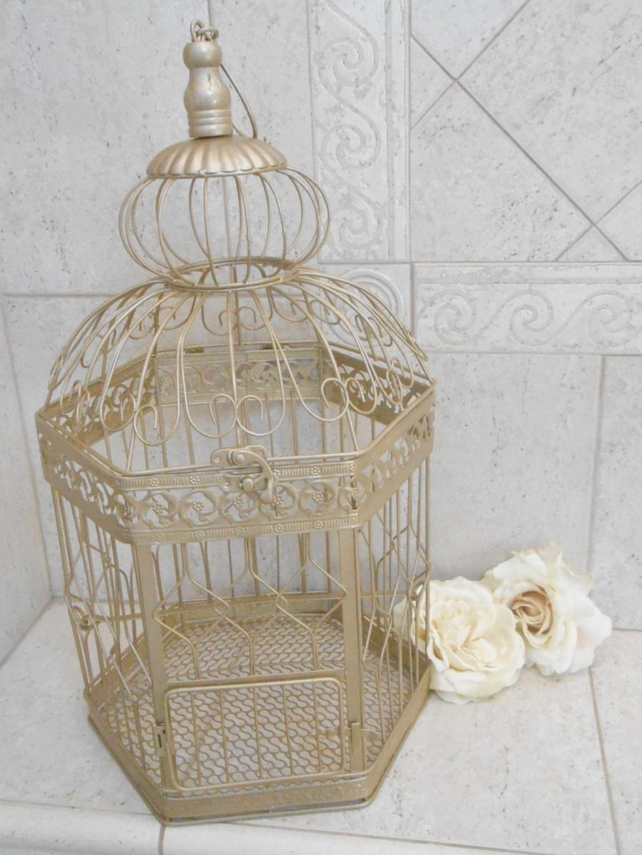 Xl Champagne Gold Wedding Birdcage Card Holder Diy Extra Large