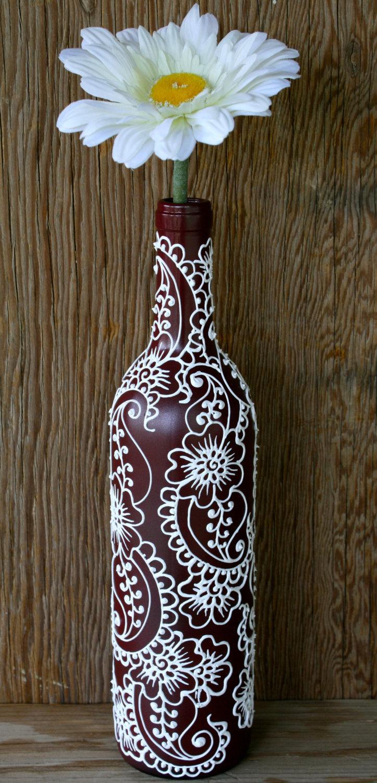 Mariage - Wine bottle Vase, Henna Influenced Design, Burgundy/Maroon Wine Bottle with white accents