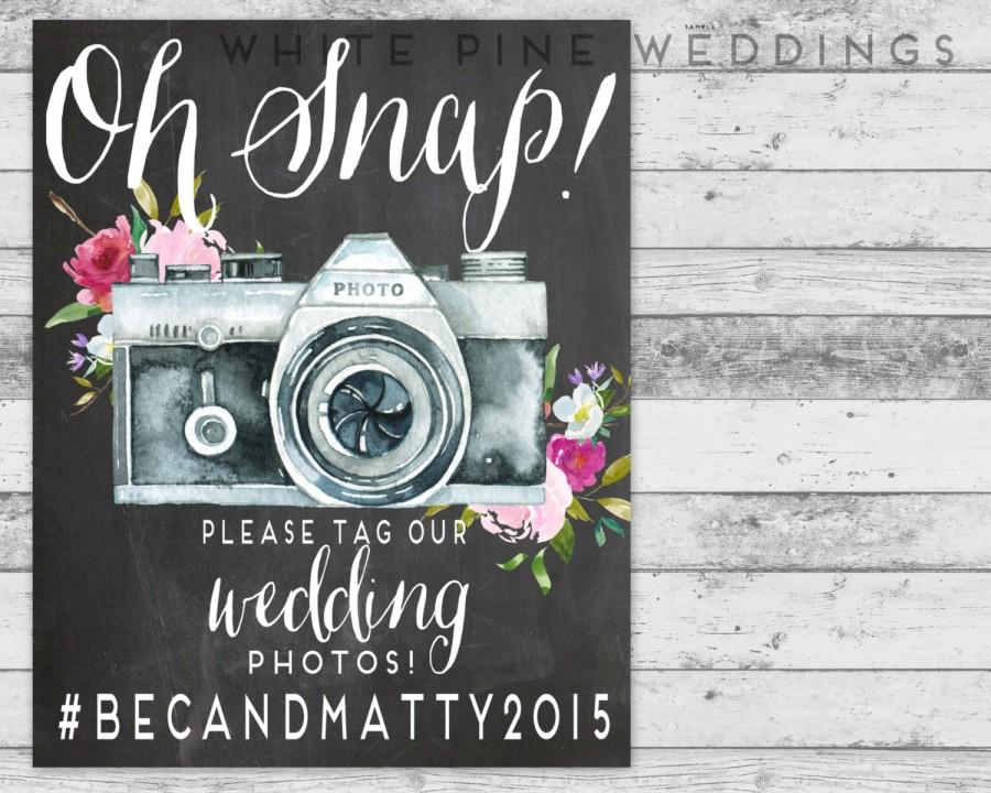 Mariage - PRINTABLE Wedding Instagram Sign, Instagram Sign, Pink Wedding,  Oh Snap sign, Floral Wedding, Chalkboard sign, instagram hashtag sign