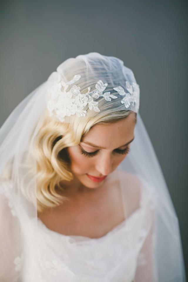 Hochzeit - Lace Wedding Veil, Juliet Cap Veil, Lace Bridal Veil, Corded Lace, Kate Moss Cap Veil, Ivory Veil, Cathedral Veil, 1920's Veil, # 1550 #2285139