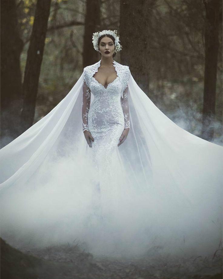 Gorgeous Mermaid Wedding Dresses Long Sleeve Illusion V-Neck ...