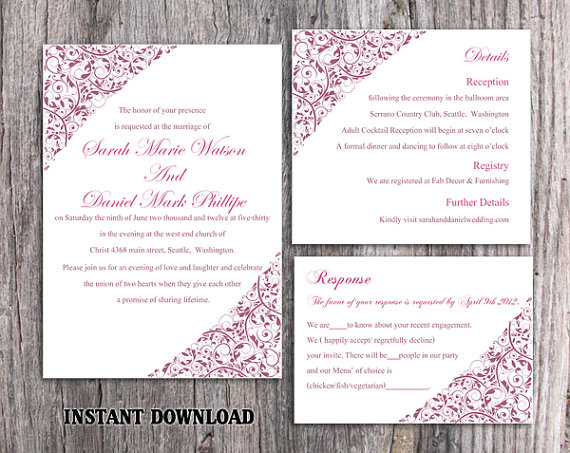 Wedding - DIY Wedding Invitation Template Set Editable Word File Instant Download Printable Floral Invitation Purple Invitation Elegant Invitations