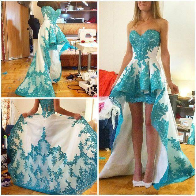 Hochzeit - Real Picture High Low Prom Dresses 2016 Sweetheart Lace Applique A-Line Evening Party Dress Custom Formal Celebrity Ball Gowns Online with $108.85/Piece on Hjklp88's Store
