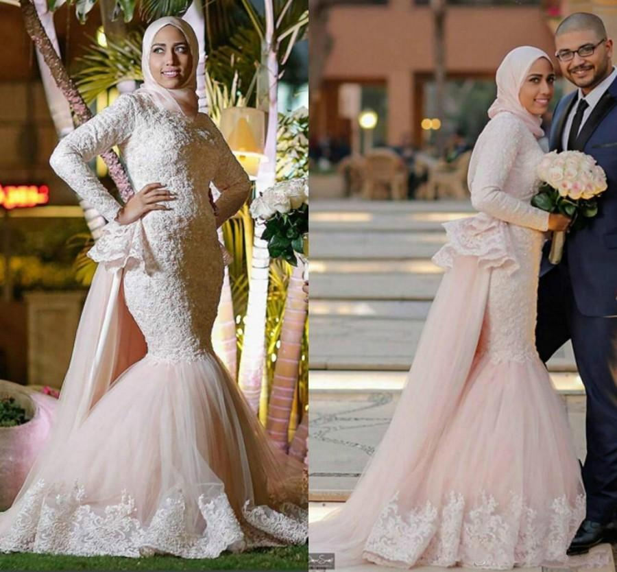 Boda - Luxurious Lace 2016 Arabic Muslim Wedding Dresses Mermaid Color Long Sleeves Beaded Wedding Gowns Vintage Light Pink Bridal Dresses Online with $122.17/Piece on Hjklp88's Store