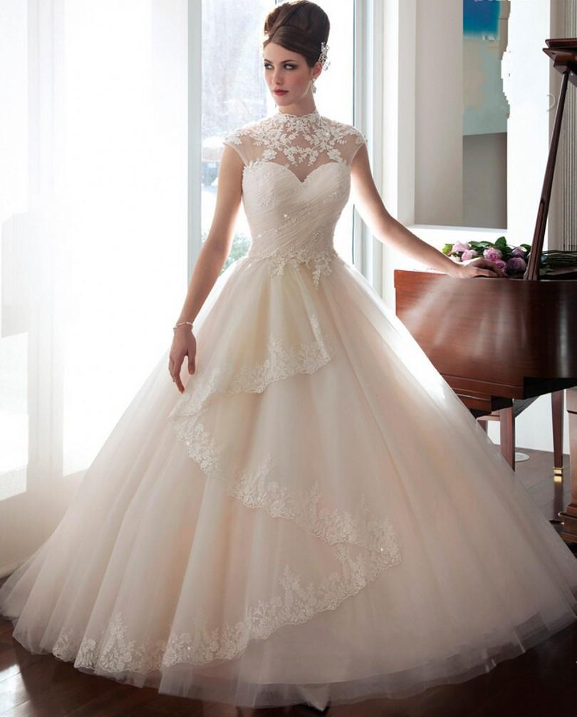 New Arrival Sheer High Neck Wedding Dresses 2016 Winter Tulle Sequins Chapel Train Lique Garden Bridal Gowns Dress Custom Church Online With