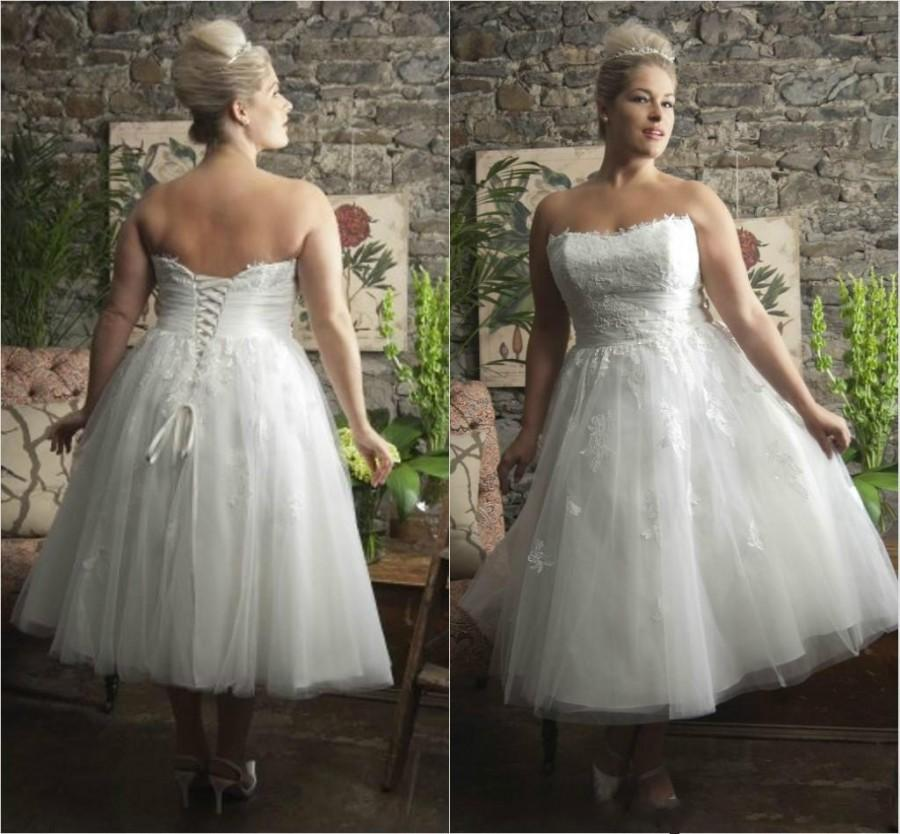 Spring Plus Size Tea Length Wedding Dresses A Line Beach 2016 Tulle