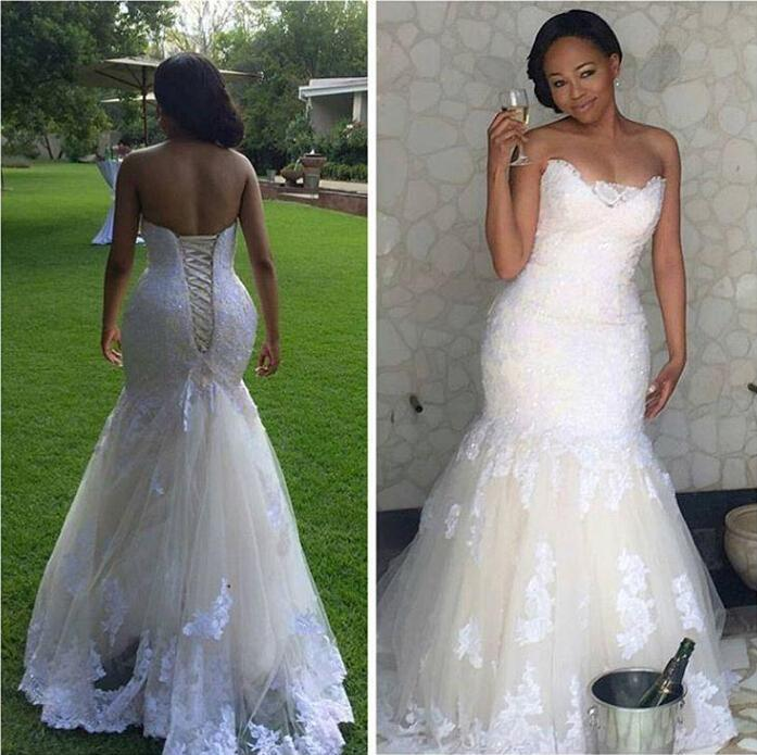 Real Picture 2016 White Lace Mermaid Wedding Dresses Plus Size ...