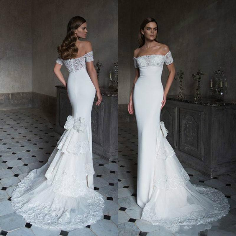 Sexy 2016 Lace Mermaid Wedding Dresses White Fitted Bodice Spring