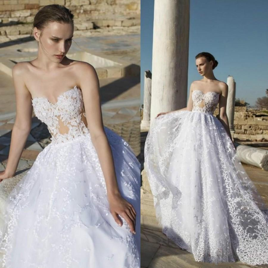Sexy 2016 Lace Wedding Dresses Sweetheart Applique White Train A Line Ball Go