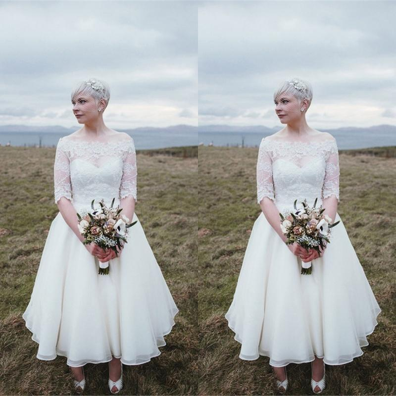 Vintage 2016 short lace tea length wedding dresses sheer for Vintage t length wedding dresses