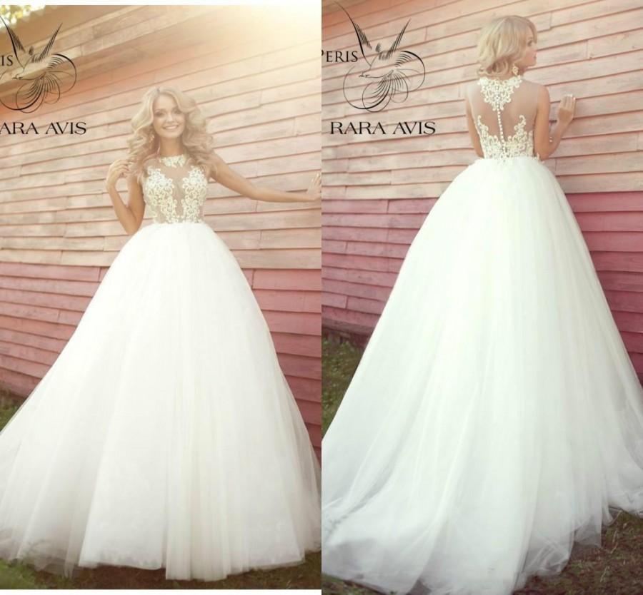 Wedding - New Style See Through Lace A-Line Wedding Dresses Jewel Sleeveless Covered Button 2016 Chapel Train Vestido De Noiva Ball Gown Bridal Dress Online with $109.03/Piece on Hjklp88's Store