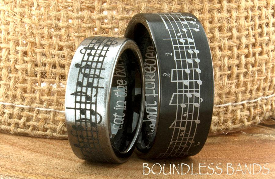 Tungsten Music Wedding Band Customized Favorite Song Anniversary His
