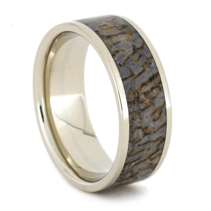 Свадьба - Dinosaur Bone Ring in 14k White Gold Ring, Dinosaur Bone Wedding Band