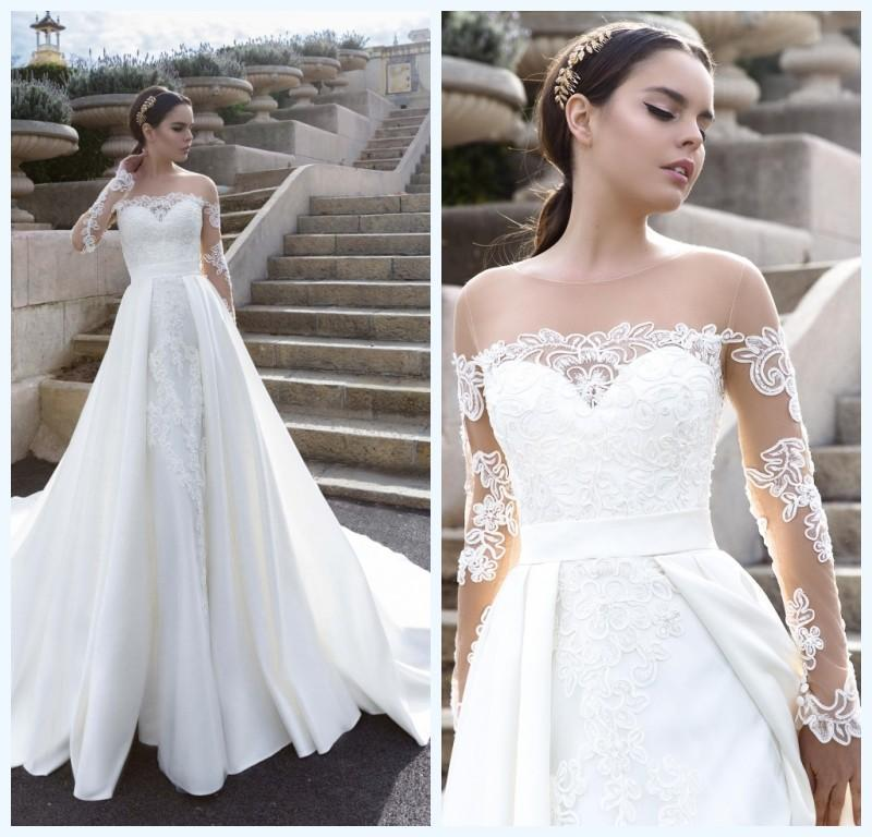 fece32d1e655 Vintage 2016 Lace Wedding Dresses Long Sleeves Satin Over Skirts 2016 Cheap  Bridal Ball Gowns Sheer Crew Vestidos De Novia Online with $113.66/Piece on  ...