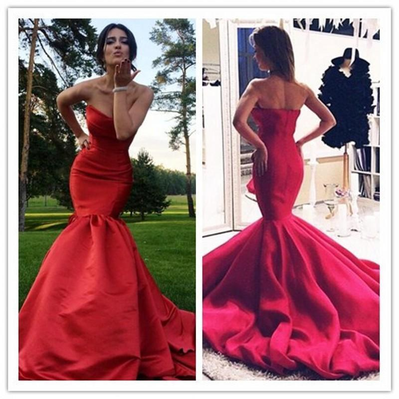 Elegant Evening Dresses Real Image 2016 Cheap Red Sexy Sweetheart ...