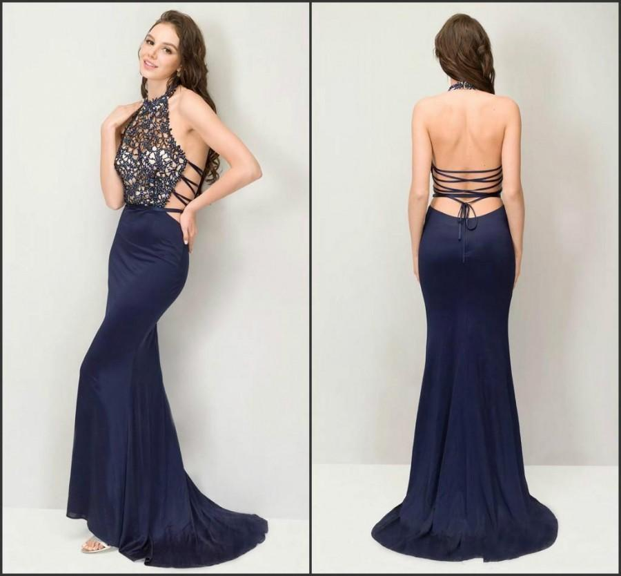 Sexy Mermaid Evening Dresses Backless 2016 Dark Bue Gowns Lace See Though  Neck Halter Backless Party Prom Gowns Long Cheap Evening Wear Online with  ...