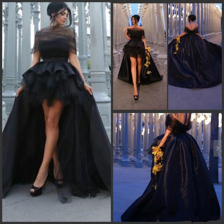 Wedding new designer hi lo 2016 evening dresses black modern clothes