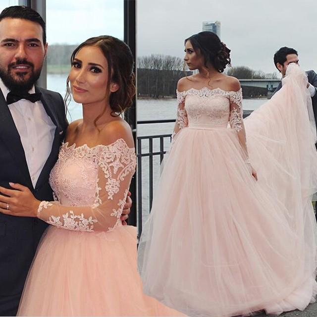 Vintage Blush Pink Wedding Dresses 2016 Off Shoulder Long Sleeves