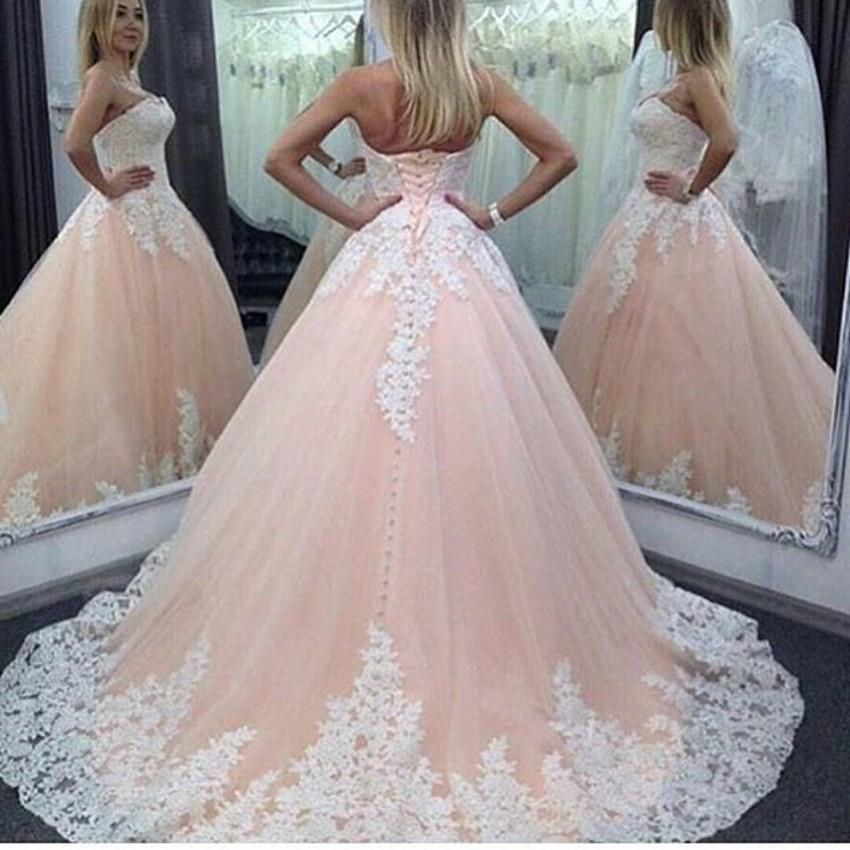 Real picture pink colorful lace wedding dresses ball 2016 for Pink and orange wedding dresses