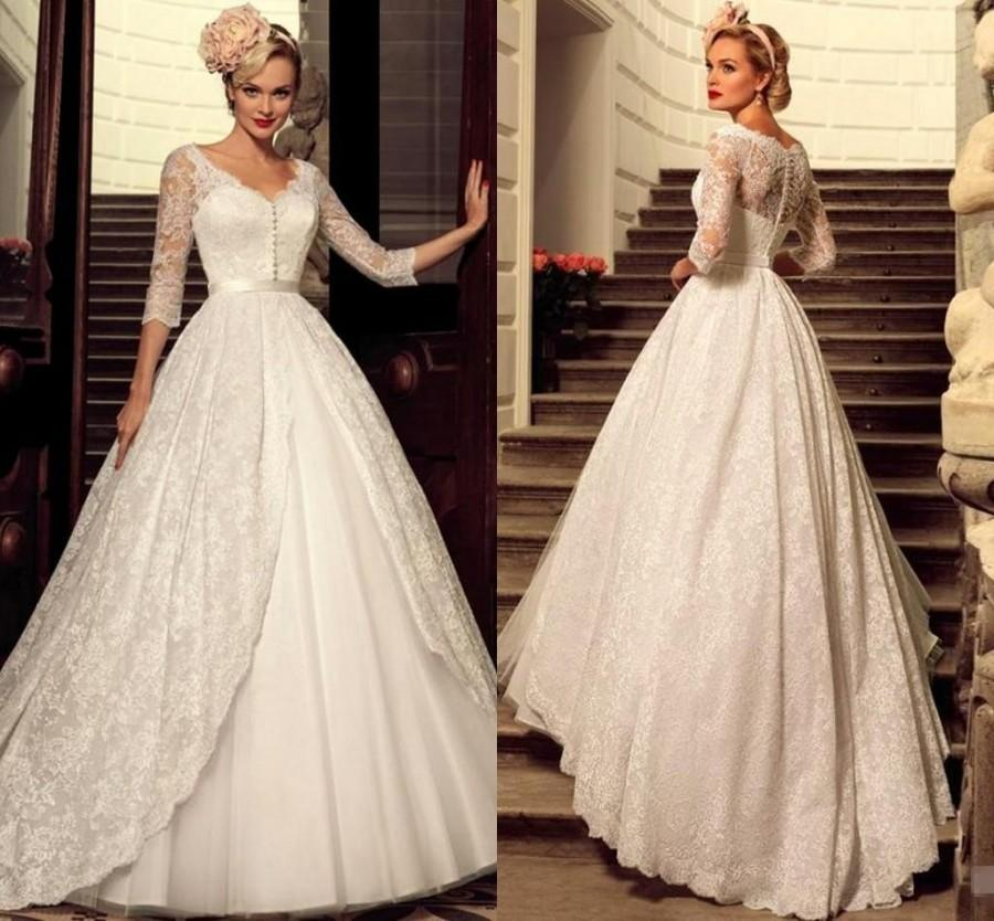 c1a9b2de068 Designer 2016 Plus Size Vintage Full Lace Wedding Dresses Bridal Dress 3 4 Long  Sleeve Cheap V-Neck Sheer Princess Bridal Ball Gown Online with ...