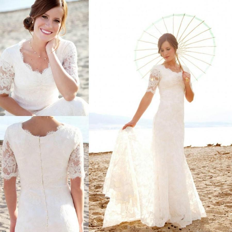 Modest short sleeves wedding dresses with applique for Short sleeved wedding dress