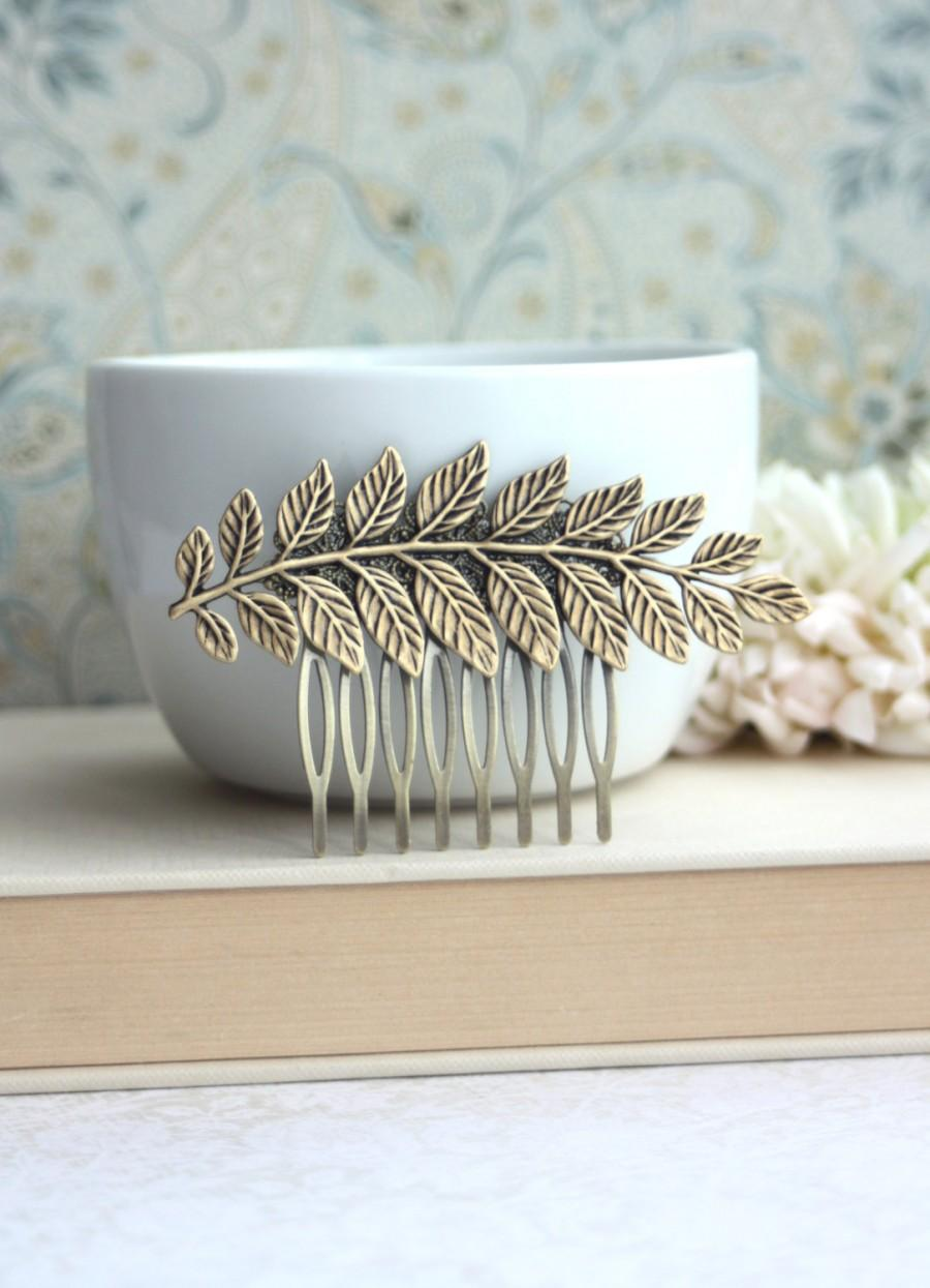 Mariage - Large Leaf Comb. Antiqued Brass Leaf, Vintage Style Comb, Greek Leaf Branch Statement Comb. Wedding Hair Accessory, Bridesmaid Jewelry Comb