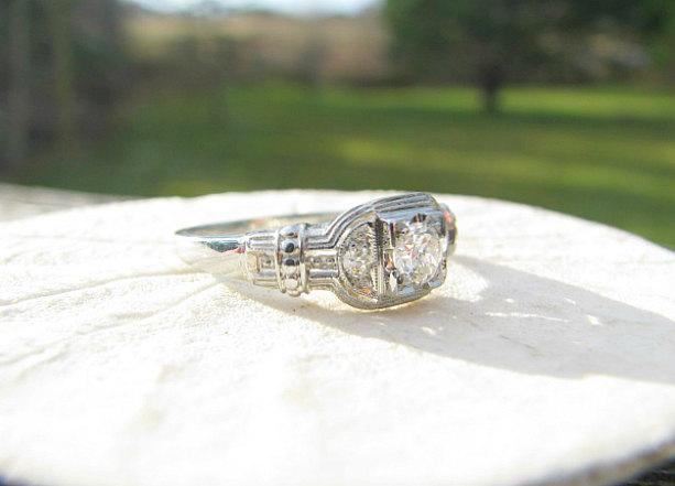 زفاف - Charming 1930's Diamond Engagement Ring, Fiery European Transitional Cut Diamond, Wonderful Details, 18K White Gold