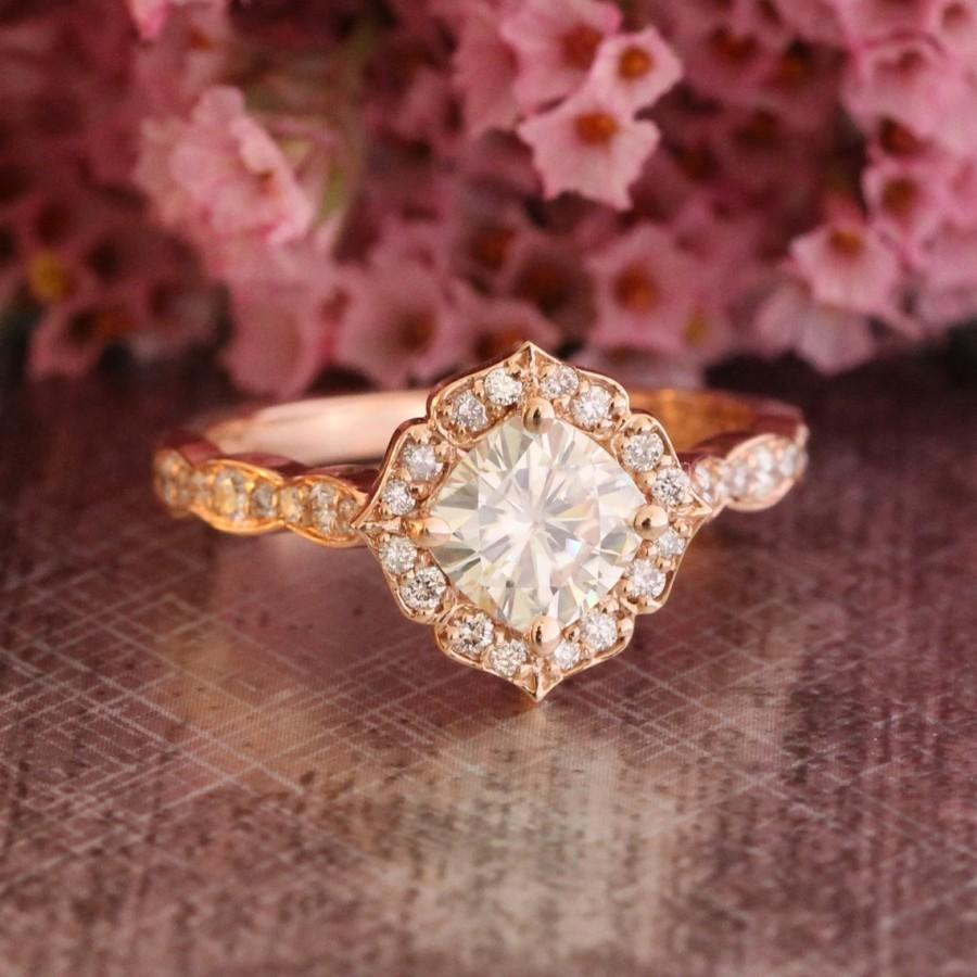 Mini Vintage Floral Moissanite Engagement Ring 14k Rose Gold Scalloped Diamond Wedding Band 6x6mm Cushion Cut Forever Brilliant Gemstone: Rose Gold Scalloped Diamond Wedding Band At Websimilar.org