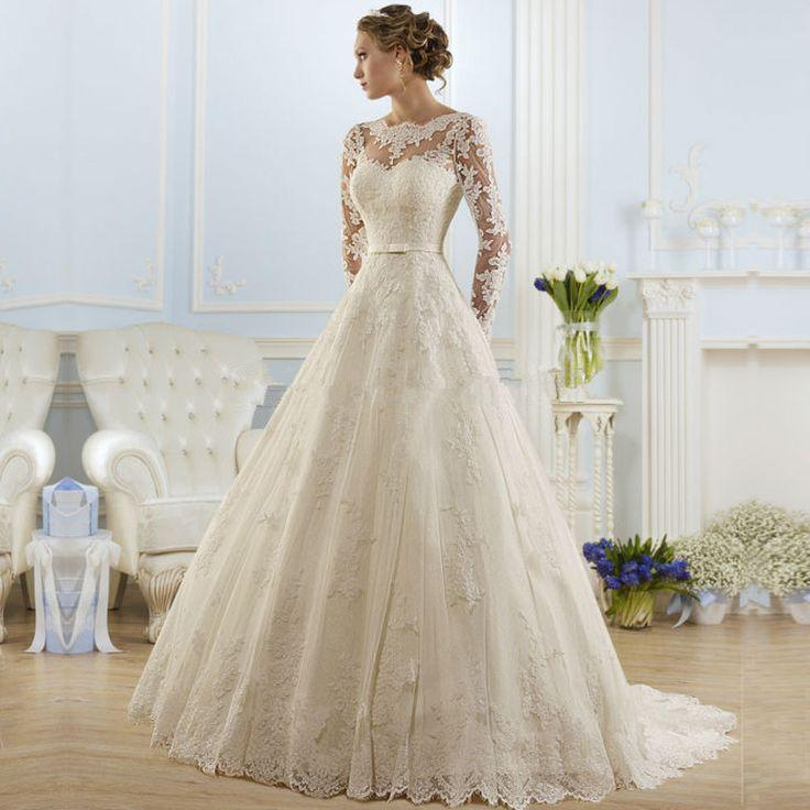 Mariage - Appliques Luxury Lace Long Sleeve Wedding Dress