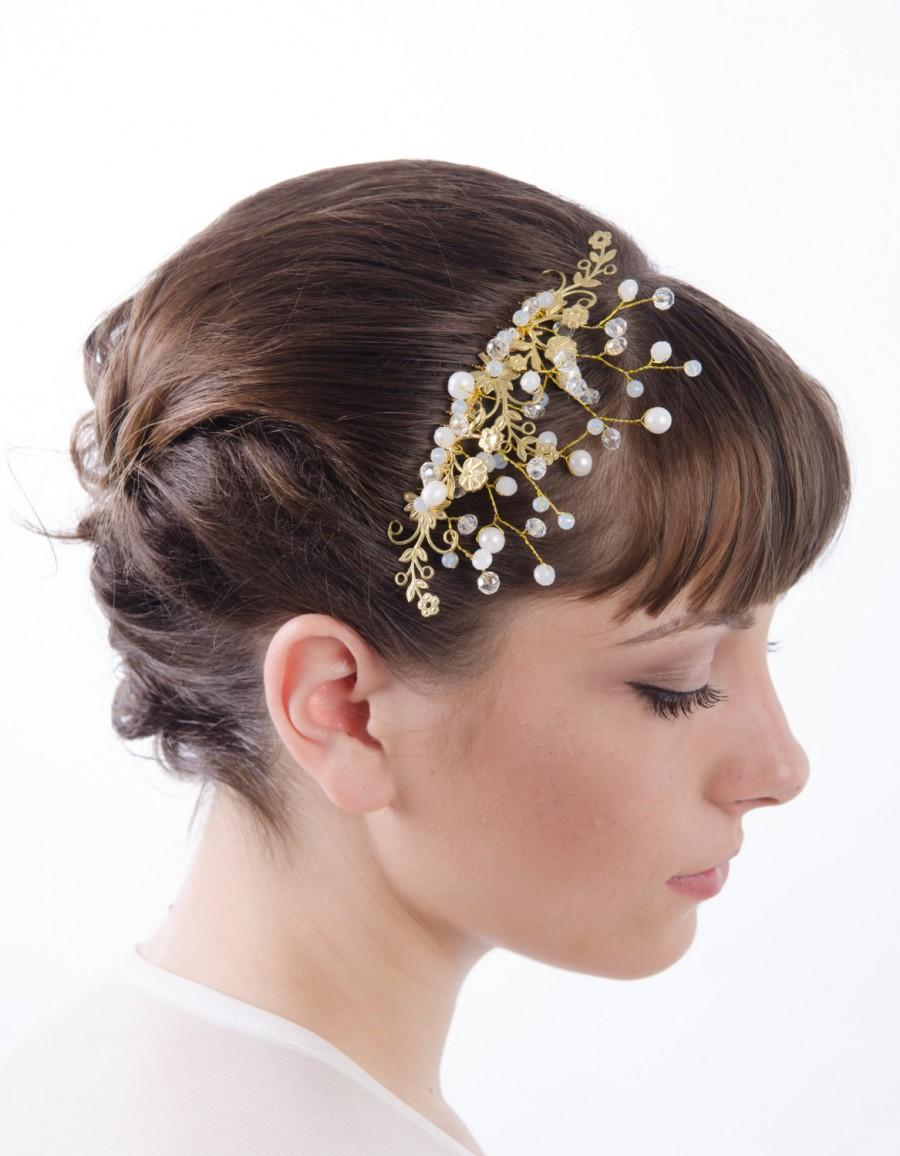 Mariage - Bridal hair comb, wedding Hair Comb,Gold leaf and flowers comb, Crystal hair comb, woodland hair piece, bridal hairpiece, wedding headpiece