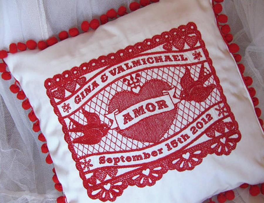 Mariage - Customized Mexicana Amor Embroidered Wedding Pillow