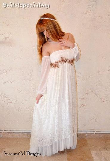 sale boho wedding dress hippie wedding dress alternative wedding ivory wedding dress lace wedding gown long bohemian gown romantic gown