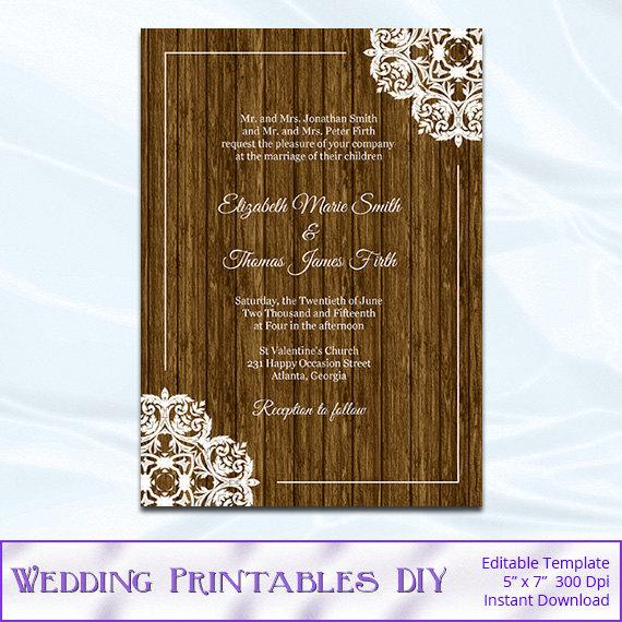 Wedding - Rustic Wood Wedding Invitation Template, Diy Printable Birthday Bridal Shower Party Invites, Editable Text, Instant Download Pdf Word P1