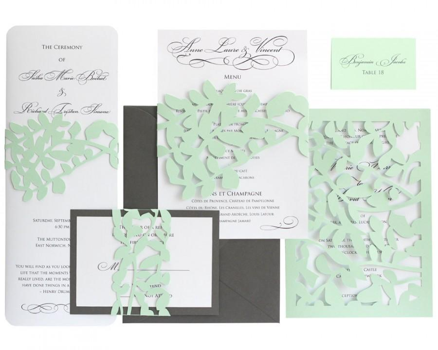 White And Green Wedding Invitations: Leaf Lace Wedding Invitations