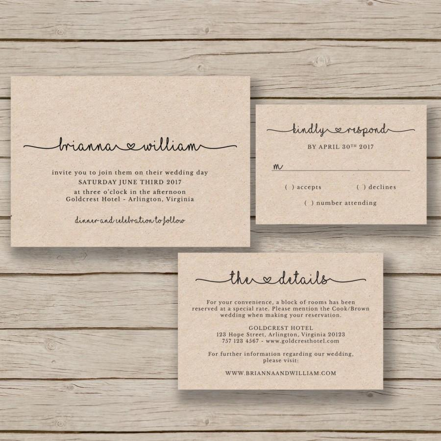 wedding invitation template rustic wedding printable editable by