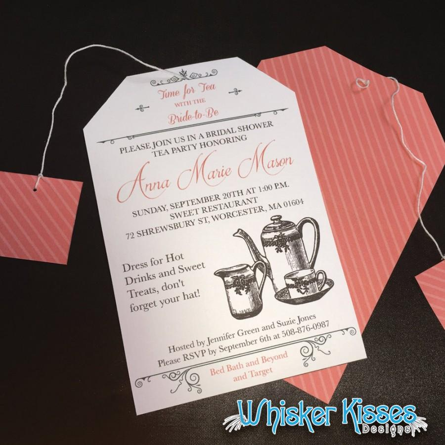 Printable Or Professionally Printed Bridal Shower Invitation Tea Party Wedding Brunch