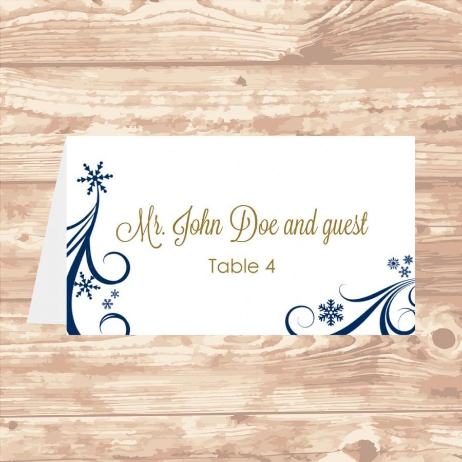 Wedding Place Card DIY Template Navy Swirling Snowflakes Editable - Card template free: avery place card template